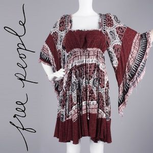 S/M Free People Heart of Gold Bell Sleeve Dress